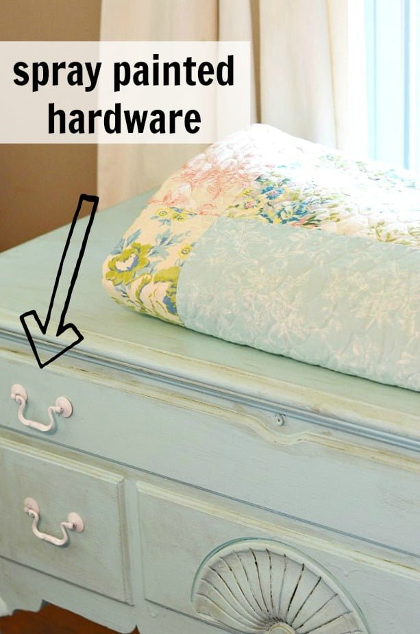 spray painted hardware on a painted hope chest