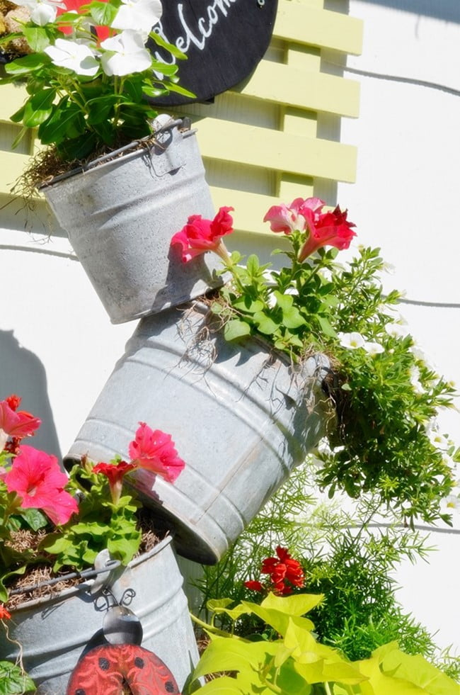 galvanized bucket topsy turvy planter | Cottage at the Crossroads