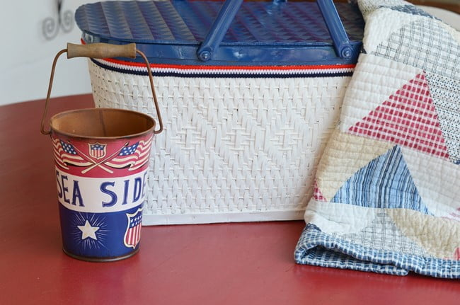 painted patriotic picnic basket | Cottage at the Crossroads