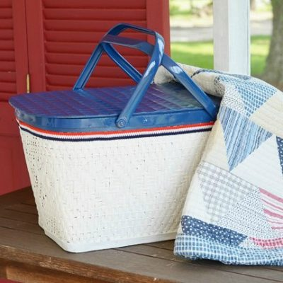 painted patriotic picnic basket