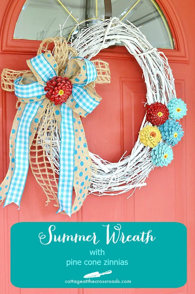 Summer Wreath made with Pine Cone Zinnia Flowers
