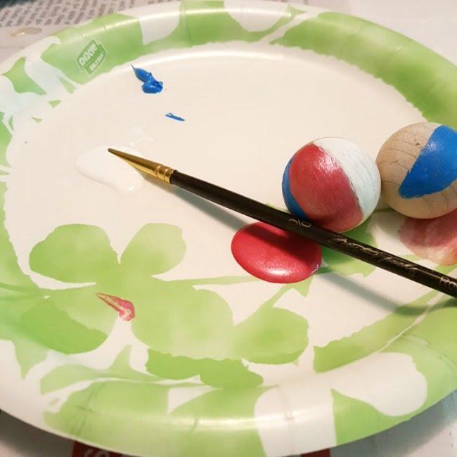 painted miniature beach ball for a fairy garden