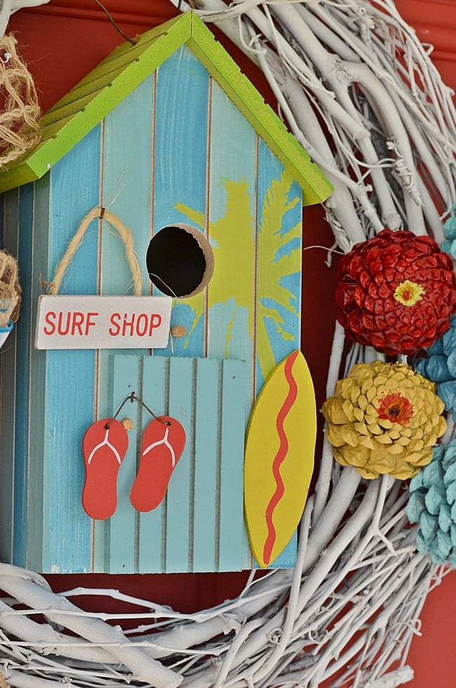 surf shop birdhouse on a summer wreath