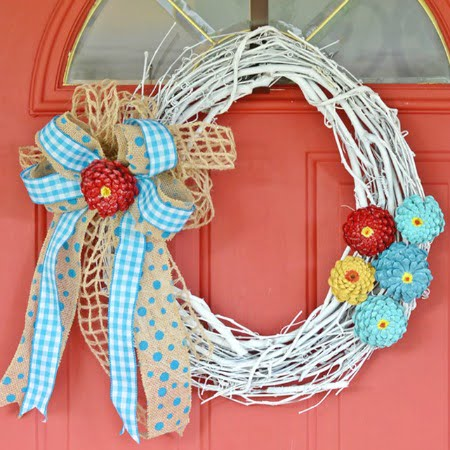 Summer Wreath Made With Pine Cone Zinnias Cottage At The