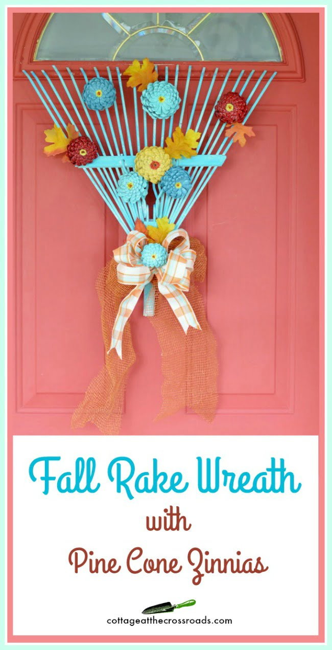 An old rake head makes an adorable fall rake wreath!
