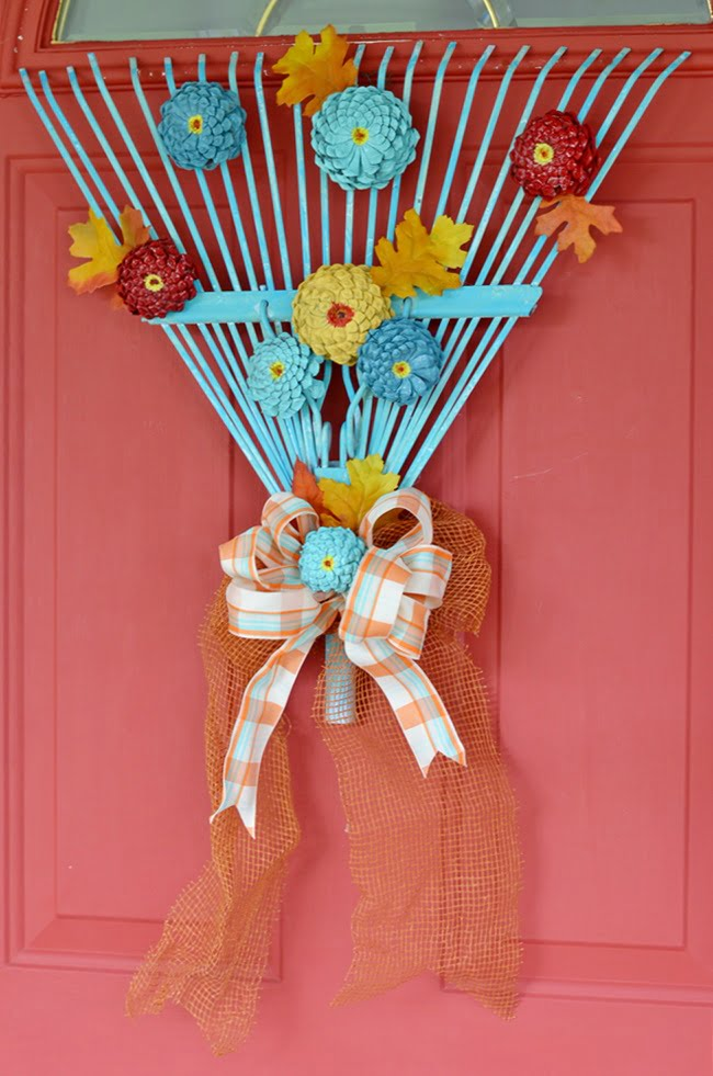 fall rake wreath\ Cottage at the Crossroads
