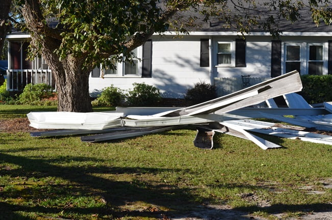 carport blown down during Hurricane Matthew
