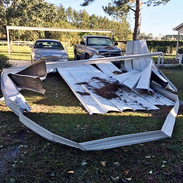blown off carport during Hurricane Matthew