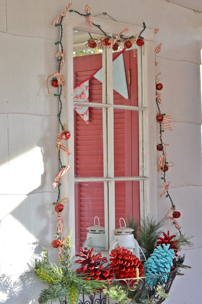 mirror on a Christmas porch