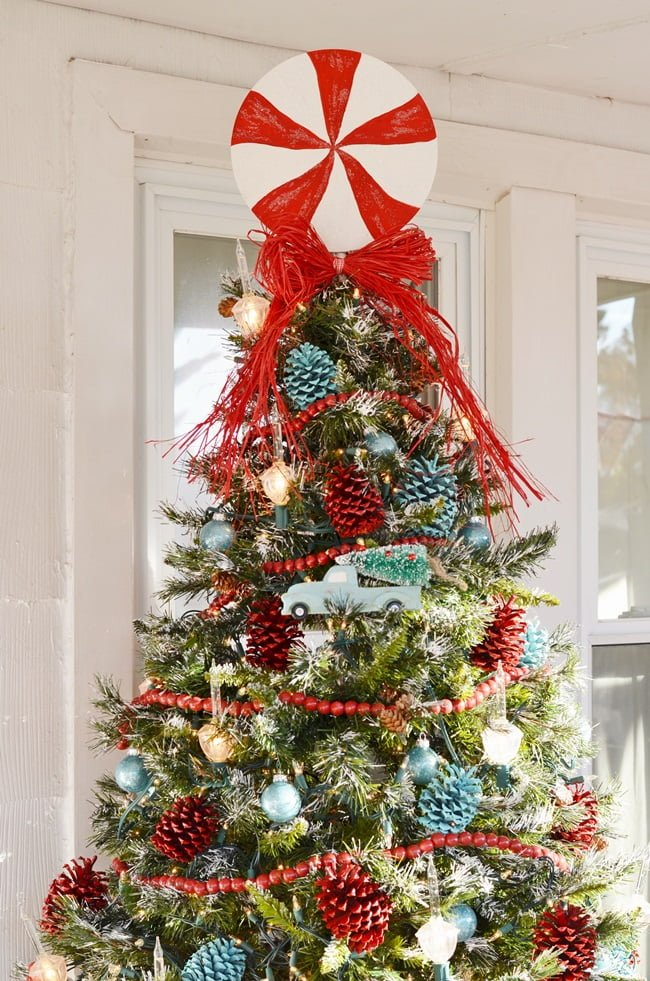 Red and Aqua Christmas tree