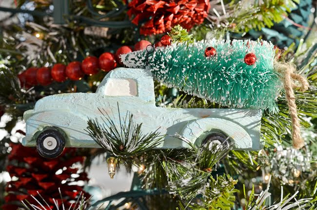 vintage blue truck Christmas ornament