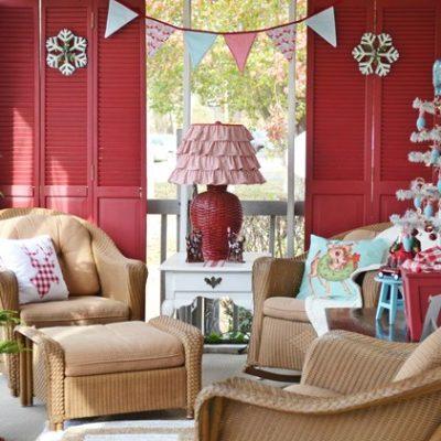 Retro Red and Aqua Christmas Porch