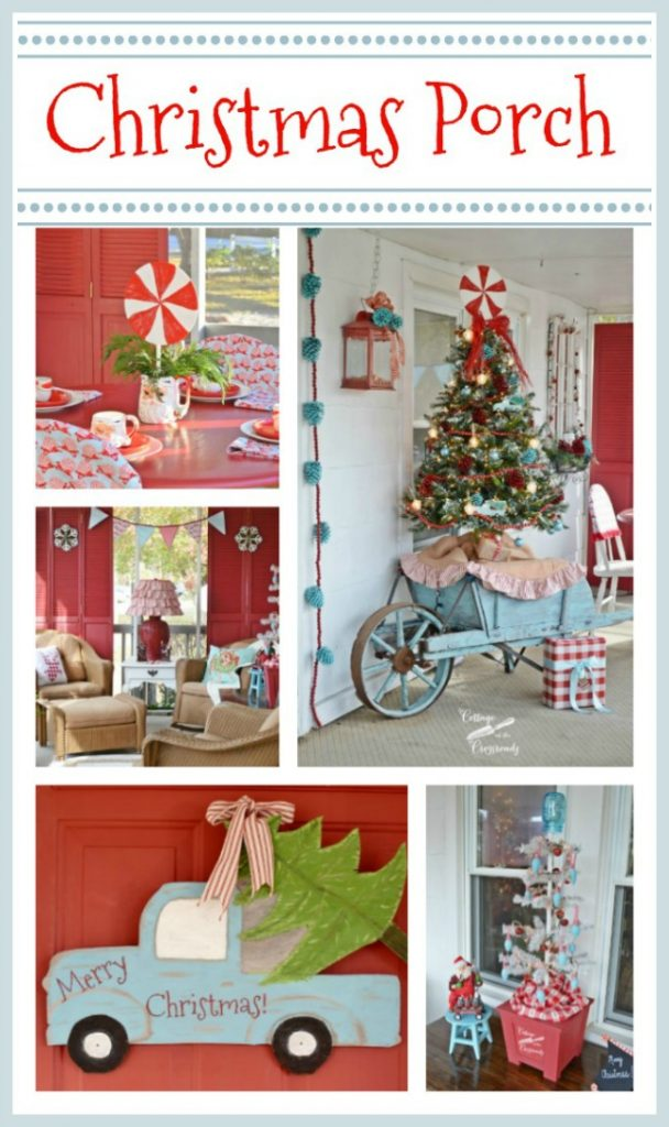 Retro Red and Aqua Christmas Porch from Cottage at the Crossroads