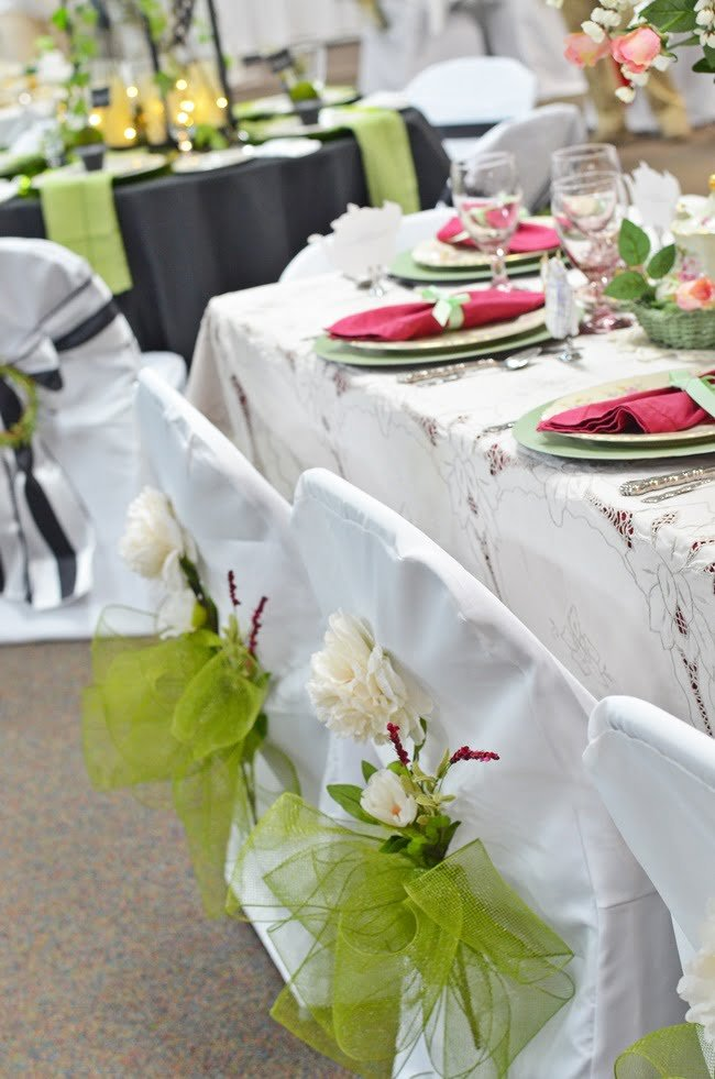 chair covers at a church tablescape fundraiser