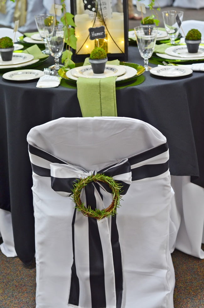 rosemary wreaths on chair covers