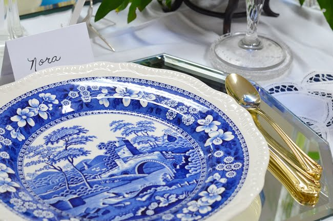blue and white china tablescape