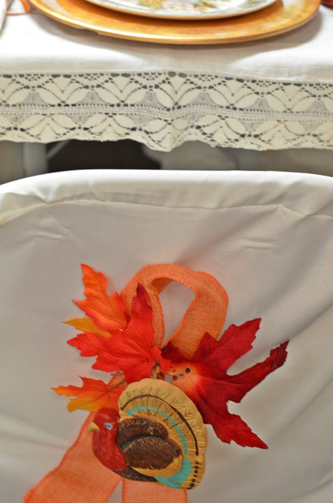 chair cover at a Thanksgiving table