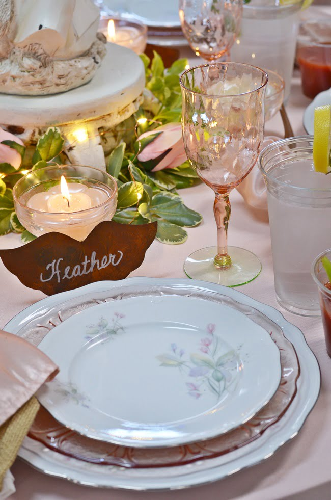 angel themed tablescape