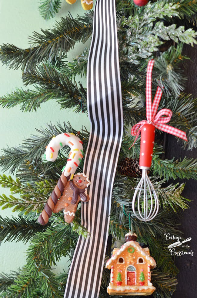 ornaments in a gingerbread kitchen | Cottage at the Crossroads