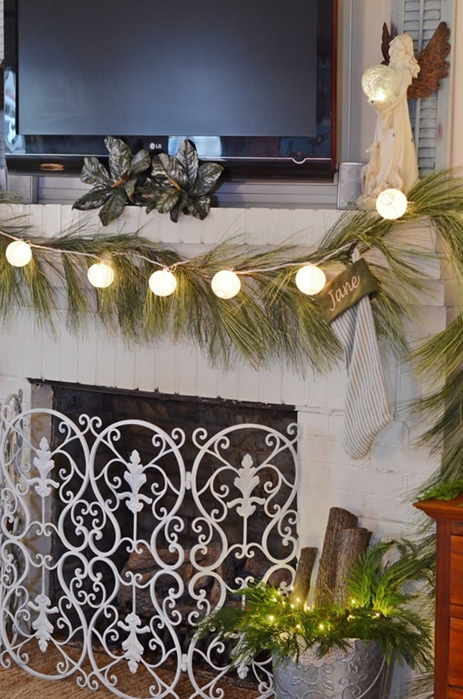 small Chinese lanterns used on a Christmas mantel | Cottage at the Crossroads