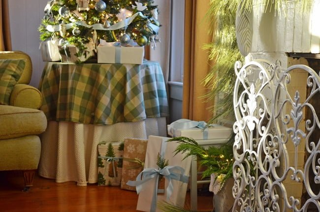 blue and green angelic Christmas mantel and tree | Cottage at the Crossroads