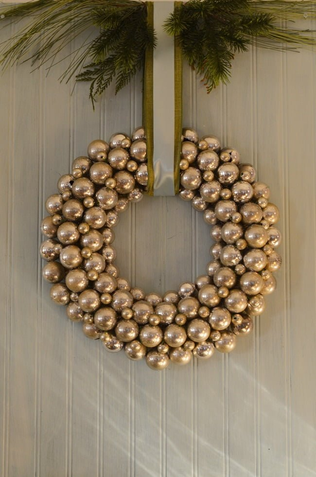 silver ornament wreath | Cottage at the Crossroads