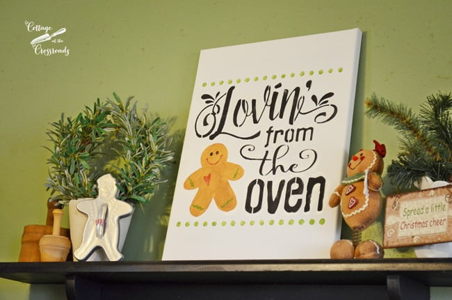 shelf in a gingerbread kitchen | Cottage at the Crossroads