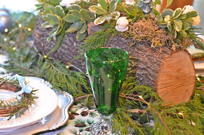 vintage green stemware used in a Christmas tablescape | Cottage at the Crossroads