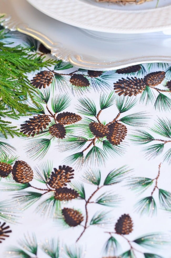 pine cone fabric runners on a Christmas table | Cottage at the Crossroads
