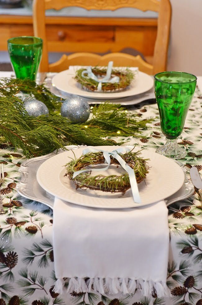 pine cone runners used on a Yule Log Tablescape | Cottage at the Crossroads