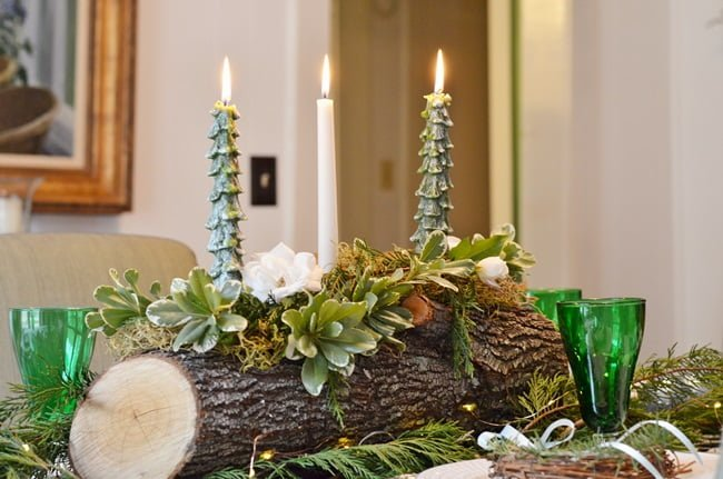 Yule Log Centerpiece | Cottage at the Crossroads