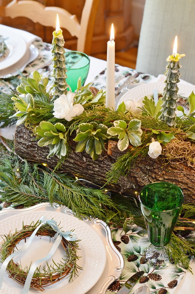 Greenery and Roses on a Yule Log | Cottage at the Crossroads