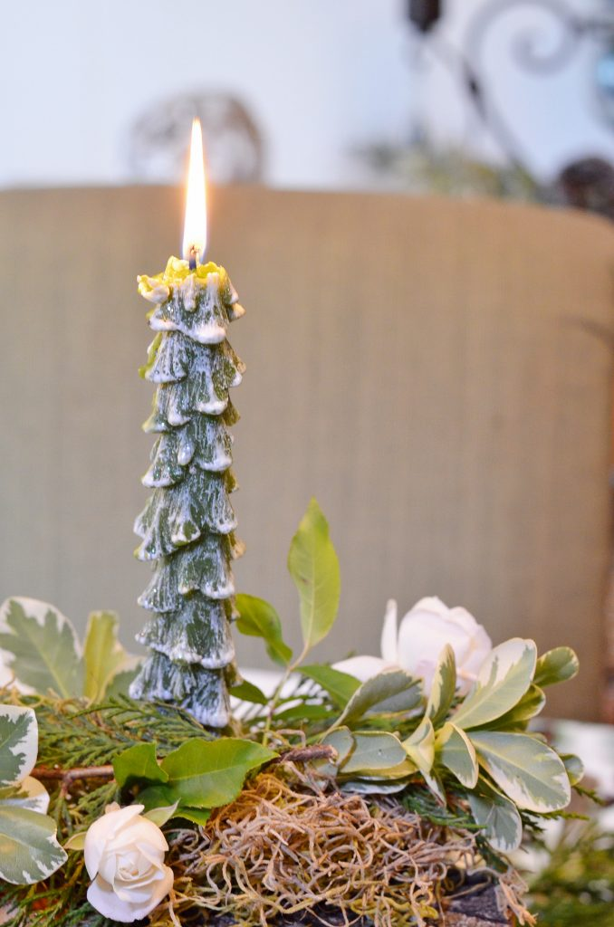tree shaped candle used in a Yule Log