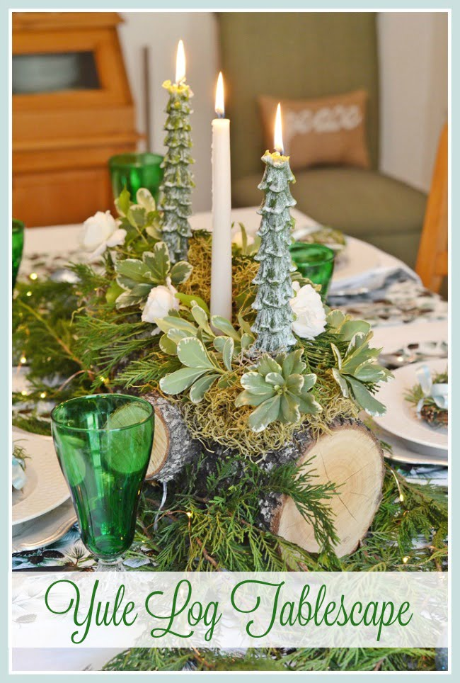 Yule Log Tablescape | Cottage at the Crossroads
