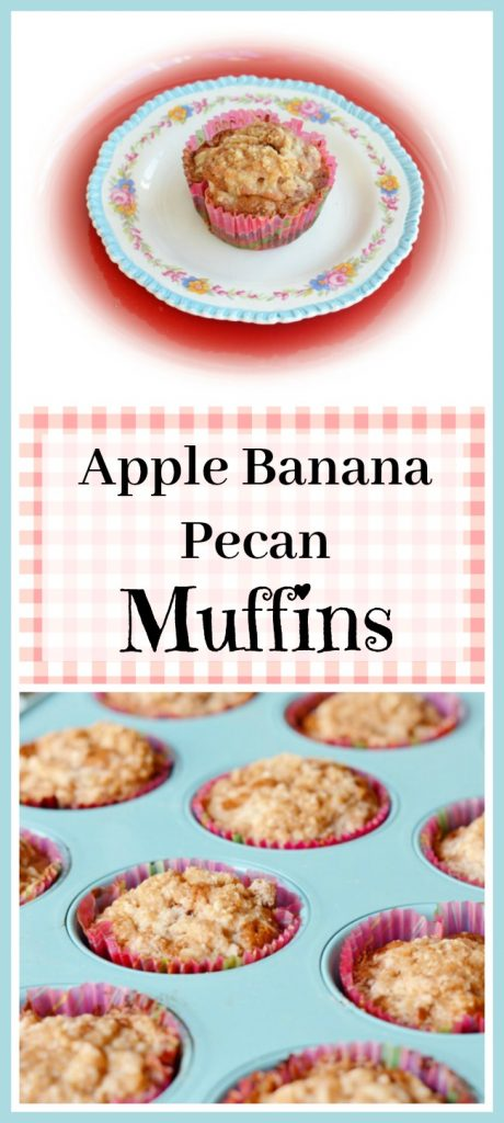 Apple Banana Pecan Muffins with Streusel Topping