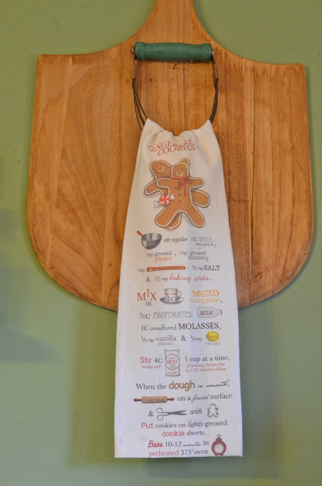 gingerbread recipe on a kitchen towel | Cottage at the Crossroads