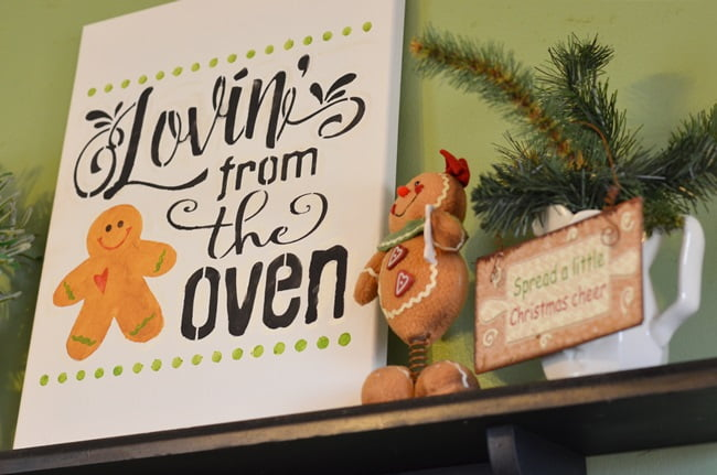 gingerbread stenciled sign | Cottage at the Crossroads