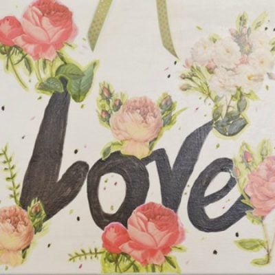 Valentine's Day art decoupaged on canvas   Cottage at the Crossroads