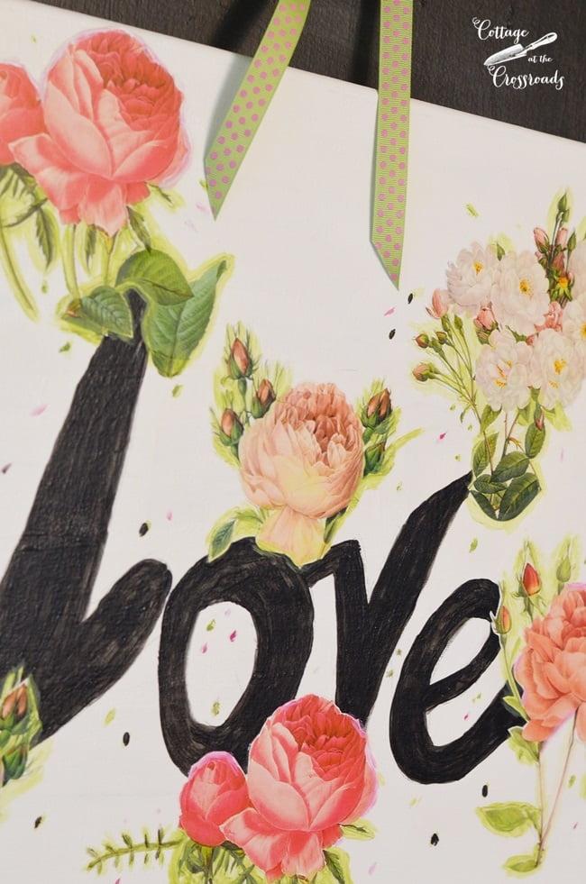 Valentine's Day art decoupaged on canvas