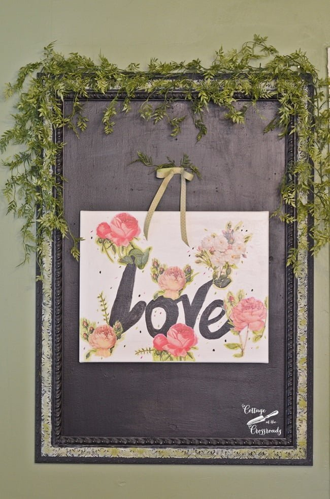 Valentine's Day art decoupaged on canvas | Cottage at the Crossroads