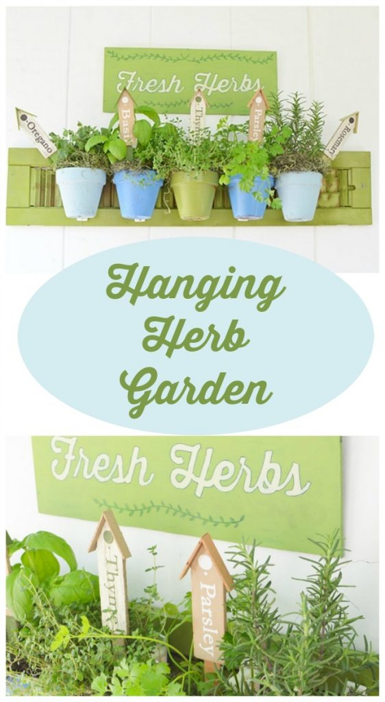 How to Make a Hanging Herb Garden using Terracotta Pot Holders for sale on the blog Cottage at the Crossroads
