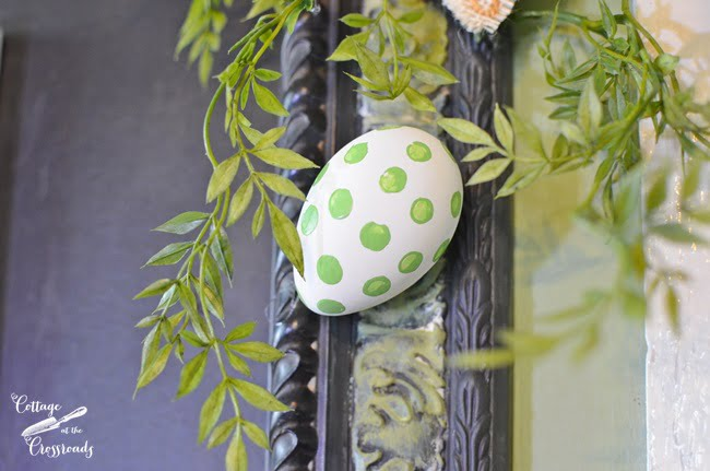 Green Polka Dot Egg on a Happy Spring Chalkboard | Cottage at the Crossroads
