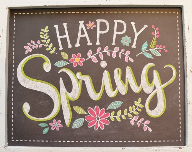 Hello Spring Chalkboard Sign | Cottage at the Crossroads