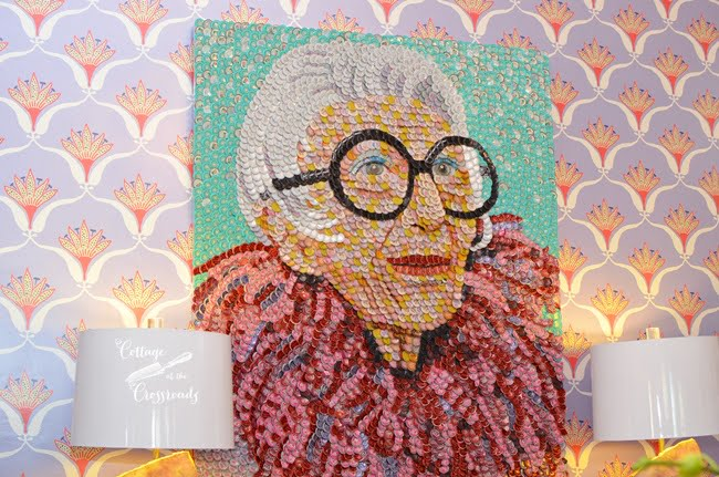 Iris Apfel Artwork in the Charleston Designer Showhouse | Cottage at the Crossroads