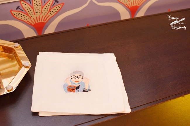 Iris Apfel cocktail napkins | Cottage at the Crossroads