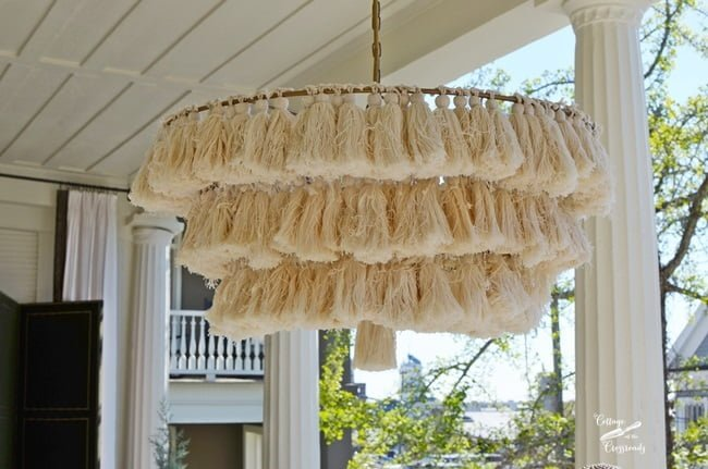 fringe chandelier | Cottage at the Crossroads