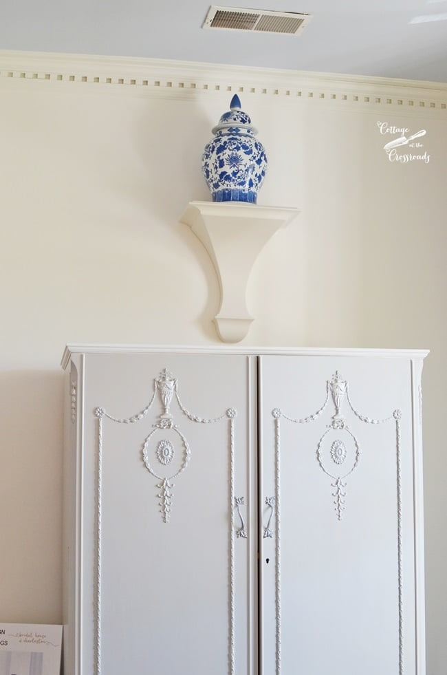 painted antique wardrobe in the Charleston Symphony Designer Showhouse | Cottage at the Crossroads