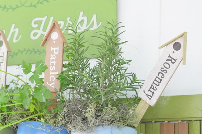 herb plant markers in a hanging herb garden | Cottage at the Crossroads
