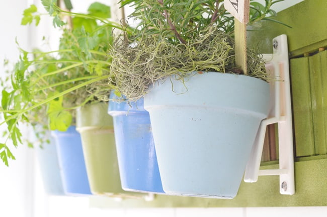 How to Create a Hanging Herb Garden using Terracotta Pot Holders | Cottage at the Crossroads
