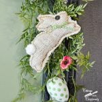 white burlap bunny on the Happy Spring chalkboard | Cottage at the Crossroads